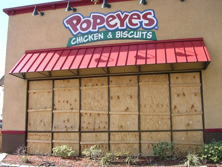 boarded up Popeyes Chicken