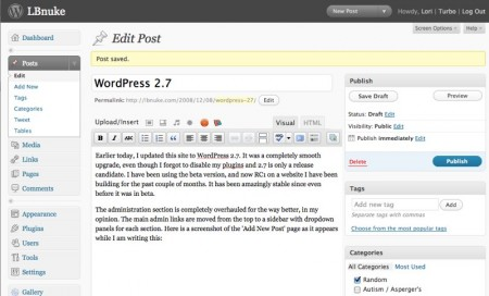WordPress 2.7 Add Post Screen